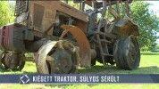 Kiégett traktor, súlyos sérült